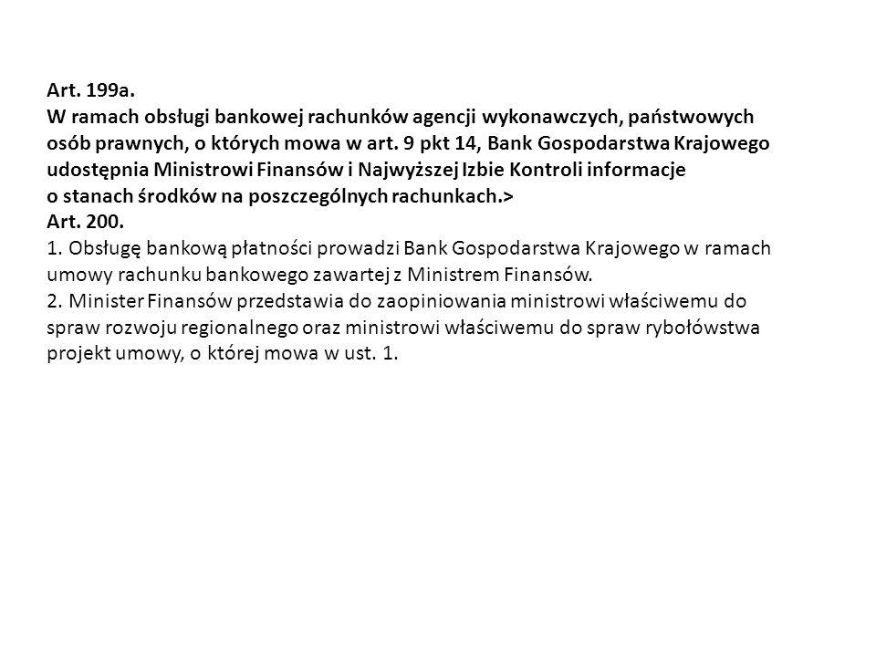 Art. 199a. W ramach obsługi bankowej rachunków agencji wykonawczych, państwowych.