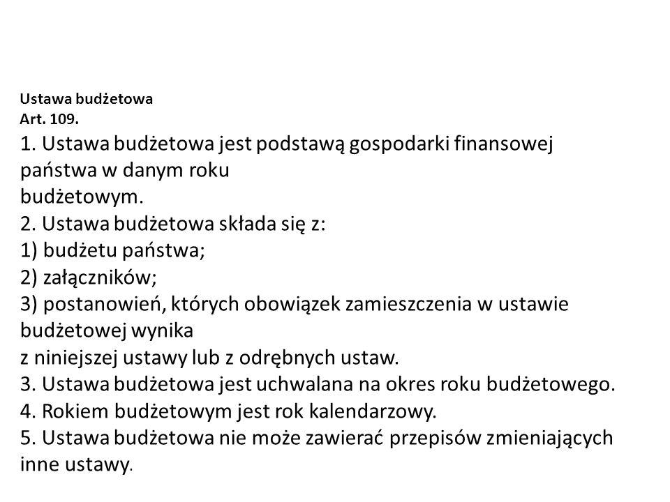 2. Ustawa budżetowa składa się z: 1) budżetu państwa; 2) załączników;