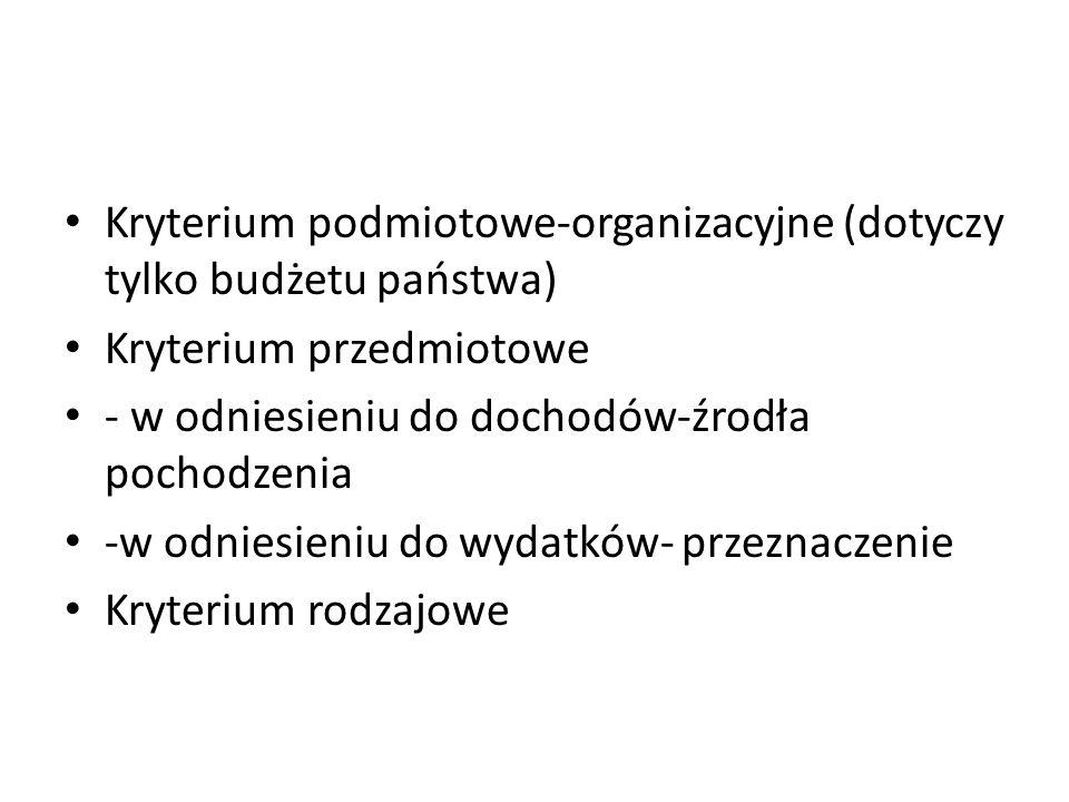Kryterium podmiotowe-organizacyjne (dotyczy tylko budżetu państwa)