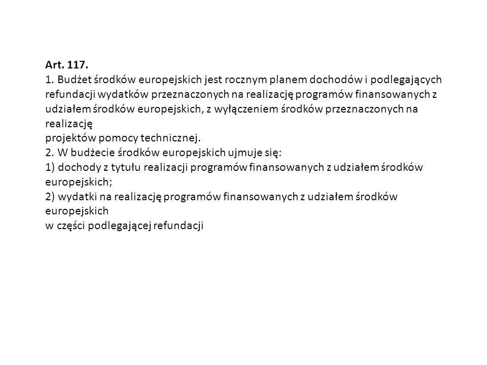 Art. 117. 1. Budżet środków europejskich jest rocznym planem dochodów i podlegających.