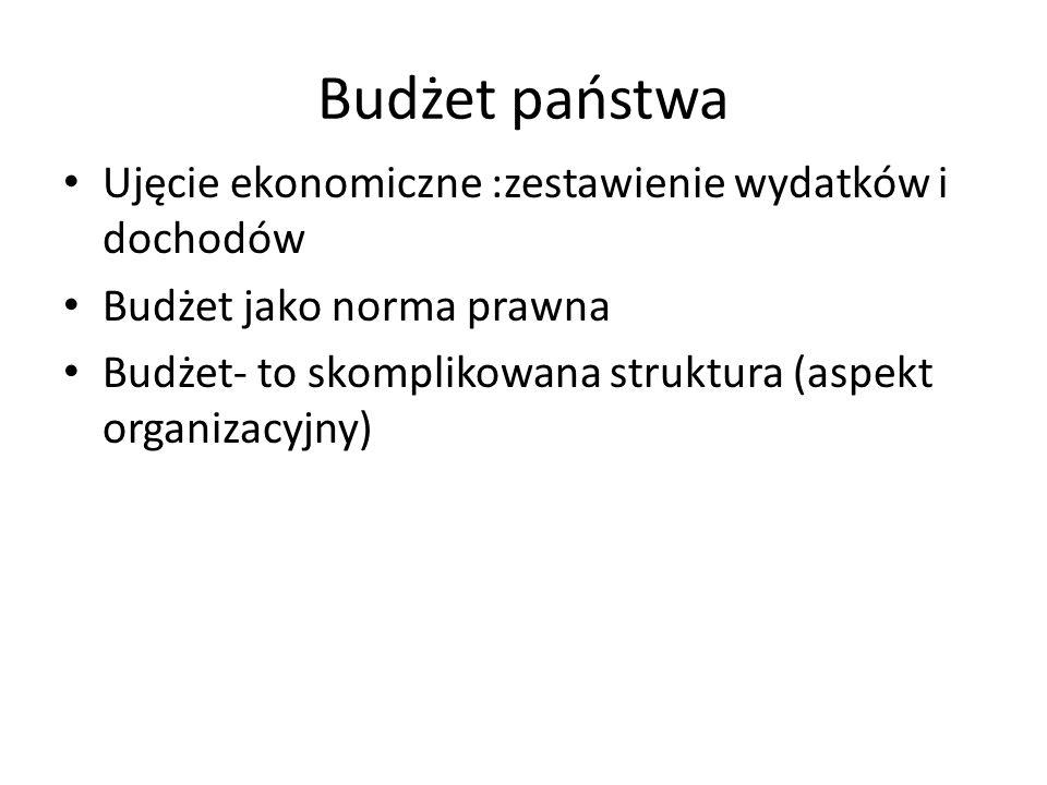 Budżet państwa Ujęcie ekonomiczne :zestawienie wydatków i dochodów