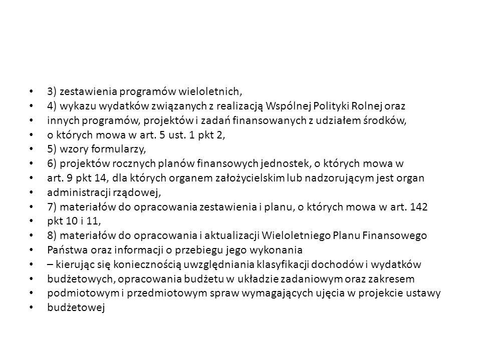 3) zestawienia programów wieloletnich,