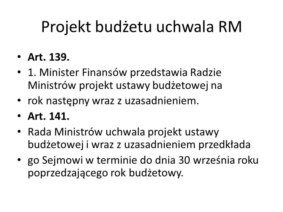 Projekt budżetu uchwala RM