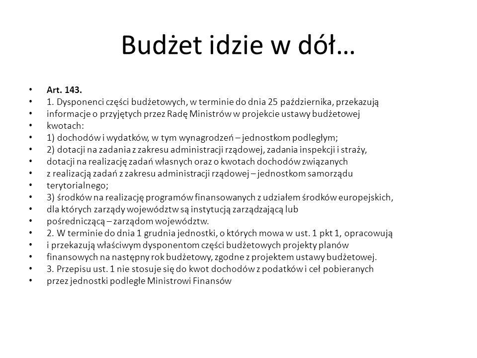 Budżet idzie w dół… Art. 143. 1. Dysponenci części budżetowych, w terminie do dnia 25 października, przekazują.