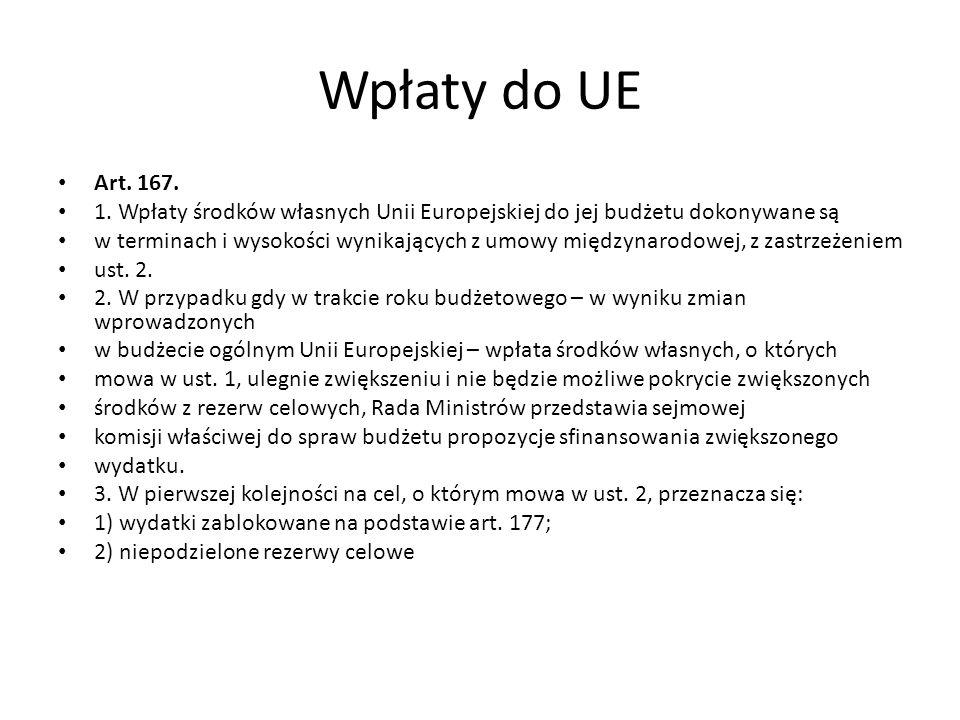 Wpłaty do UE Art. 167. 1. Wpłaty środków własnych Unii Europejskiej do jej budżetu dokonywane są.