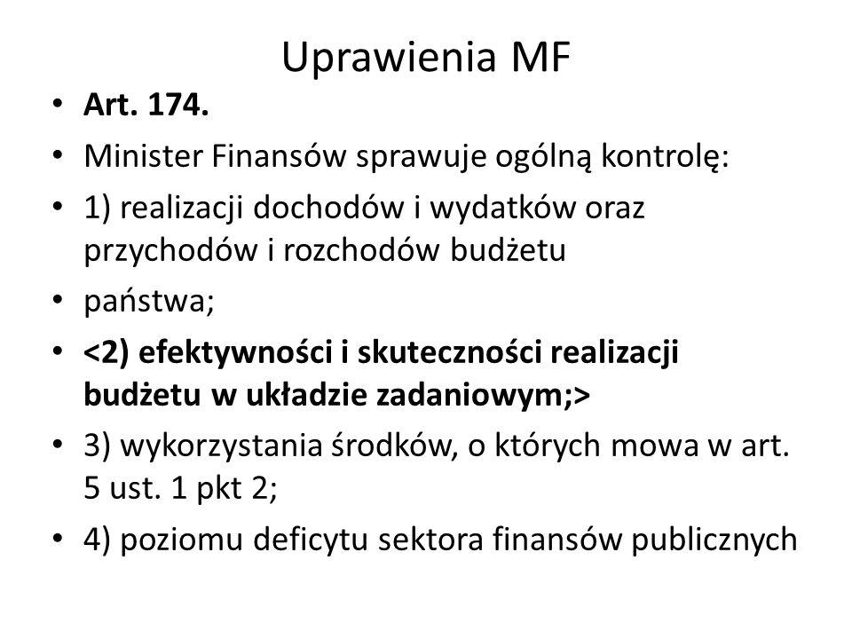 Uprawienia MF Art. 174. Minister Finansów sprawuje ogólną kontrolę: