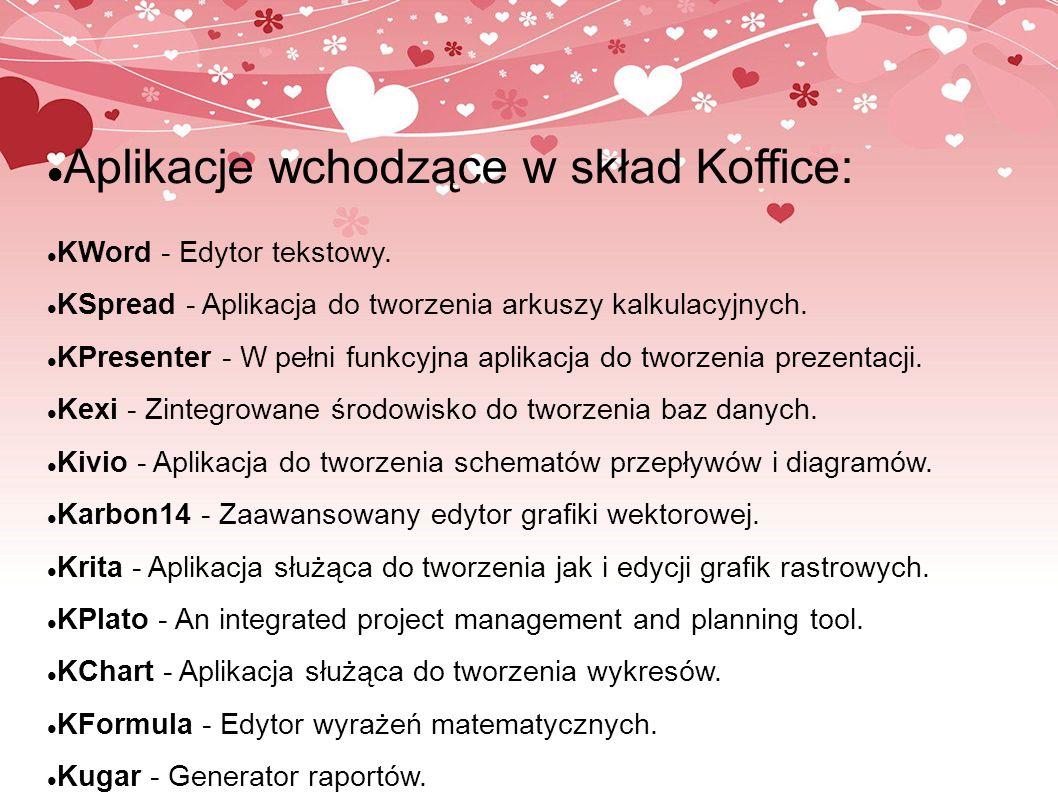 Aplikacje wchodzące w skład Koffice: