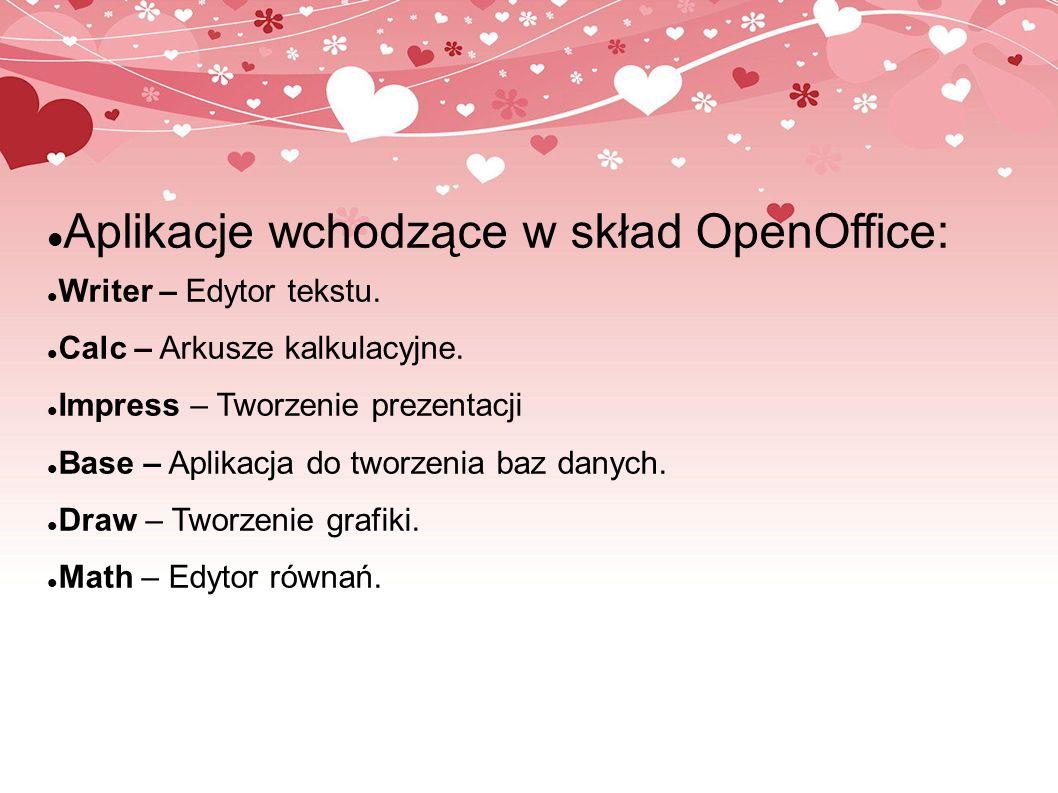 Aplikacje wchodzące w skład OpenOffice: