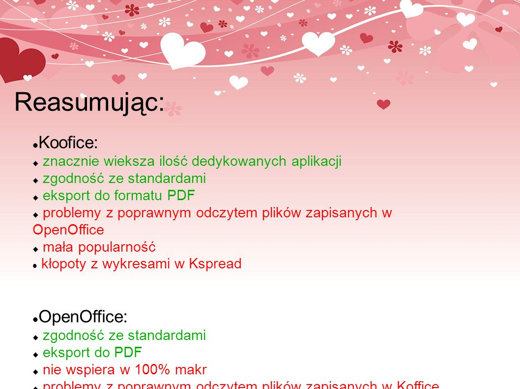 Reasumując: Koofice: OpenOffice: