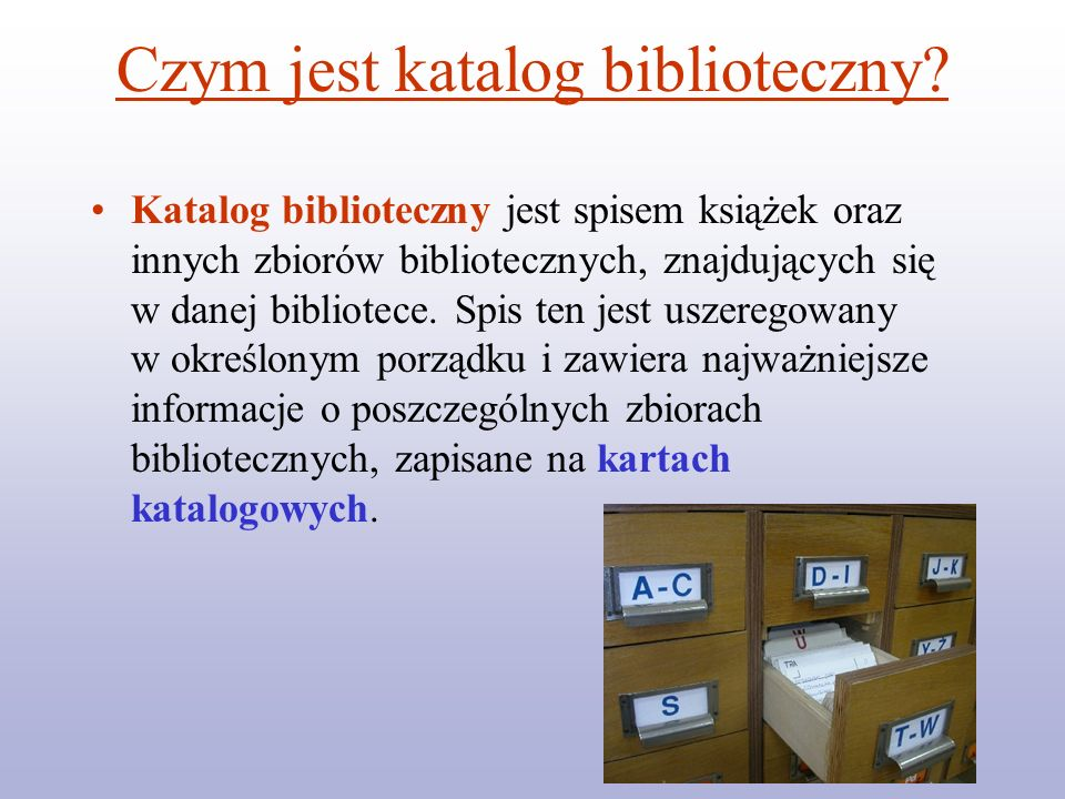 Czym jest katalog biblioteczny