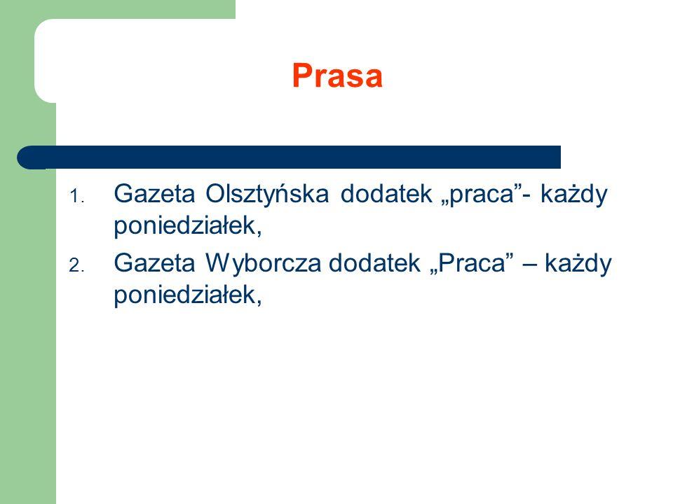 """Prasa Gazeta Olsztyńska dodatek """"praca - każdy poniedziałek,"""