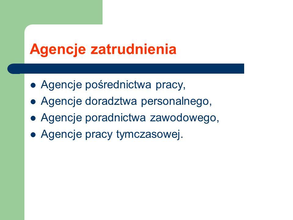 Agencje zatrudnienia Agencje pośrednictwa pracy,