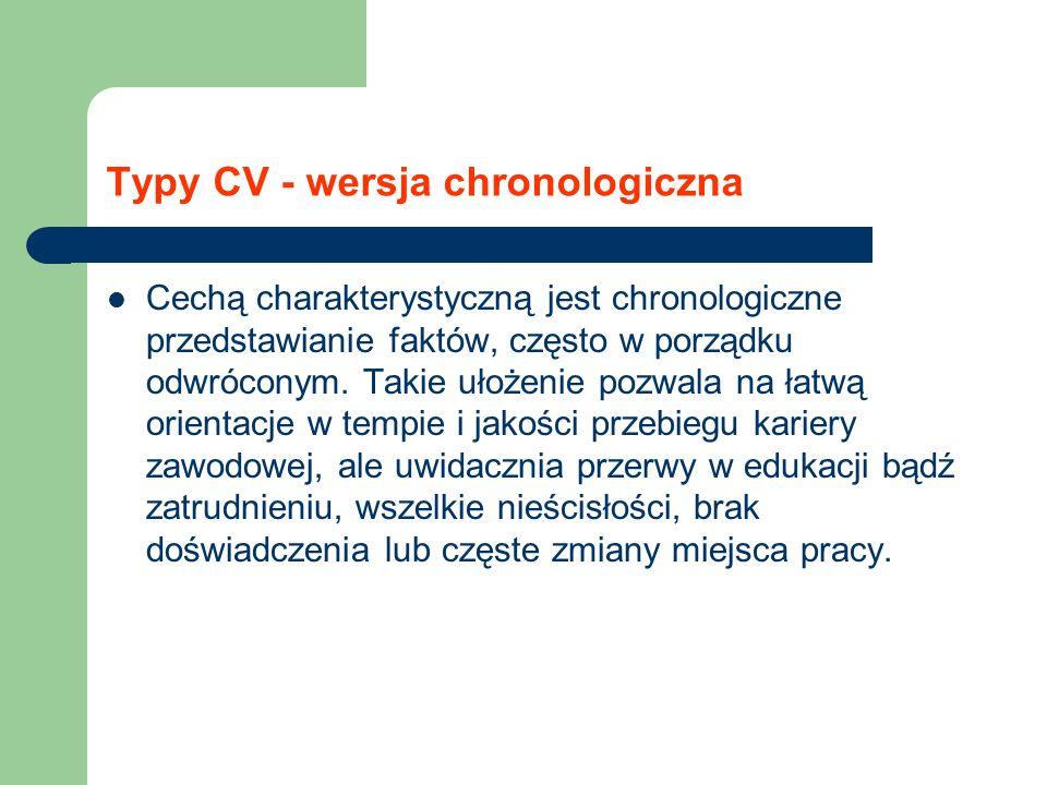 Typy CV - wersja chronologiczna