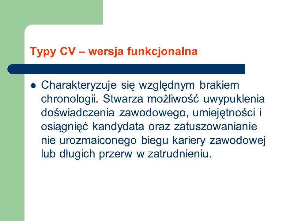 Typy CV – wersja funkcjonalna