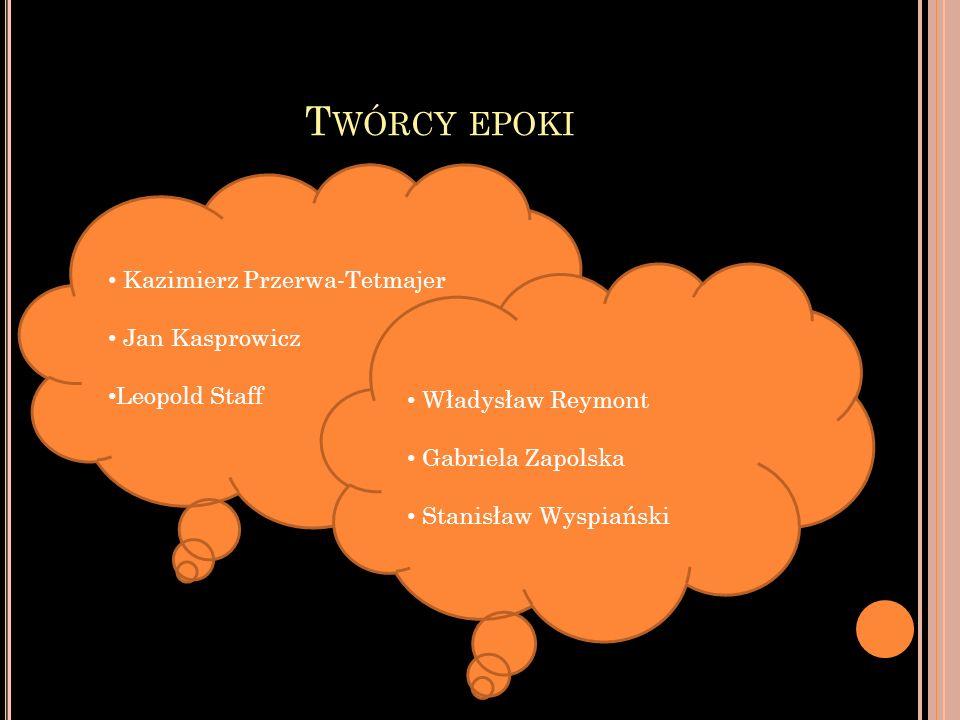Twórcy epoki Kazimierz Przerwa-Tetmajer Jan Kasprowicz Leopold Staff