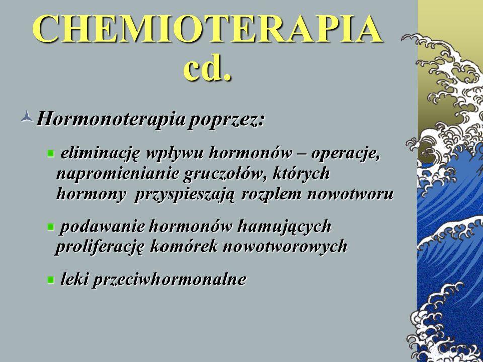 CHEMIOTERAPIA cd. Hormonoterapia poprzez: