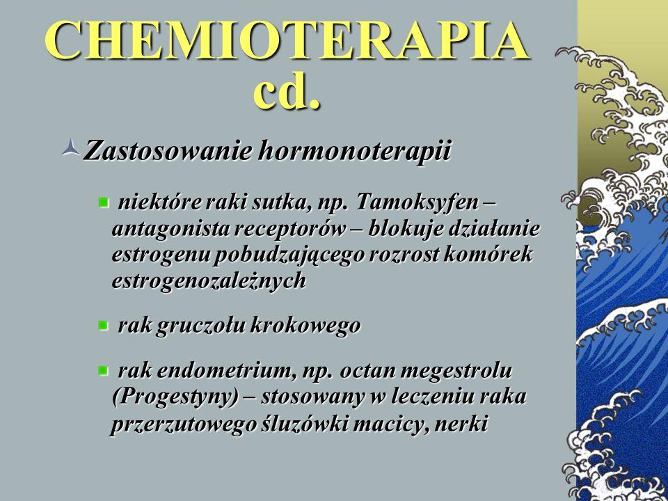 CHEMIOTERAPIA cd. Zastosowanie hormonoterapii