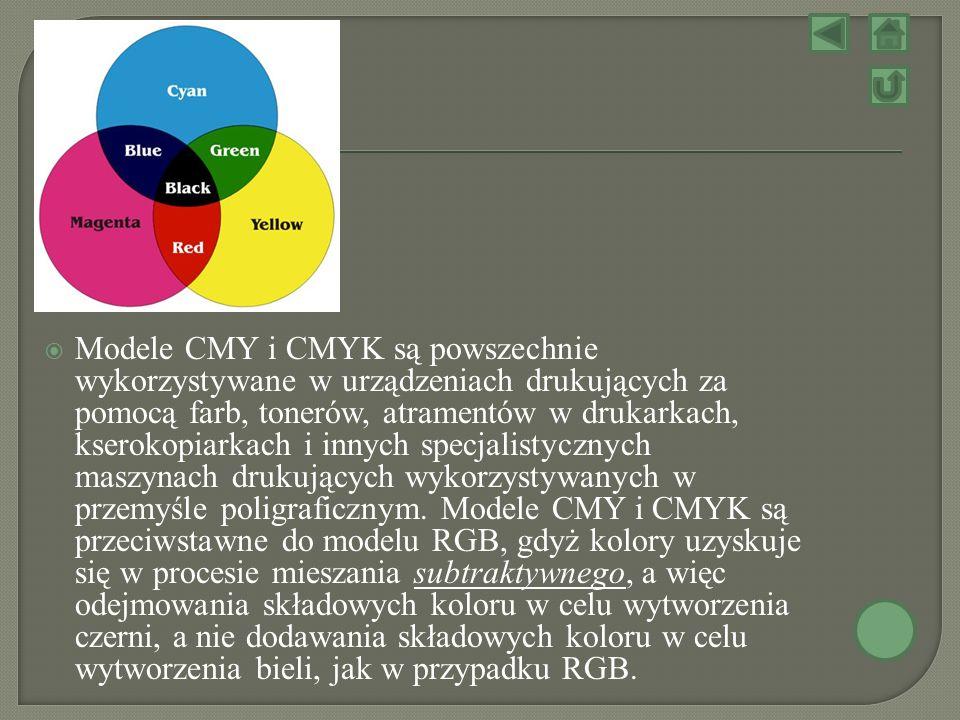 Modele CMY i CMYK są powszechnie wykorzystywane w urządzeniach drukujących za pomocą farb, tonerów, atramentów w drukarkach, kserokopiarkach i innych specjalistycznych maszynach drukujących wykorzystywanych w przemyśle poligraficznym.