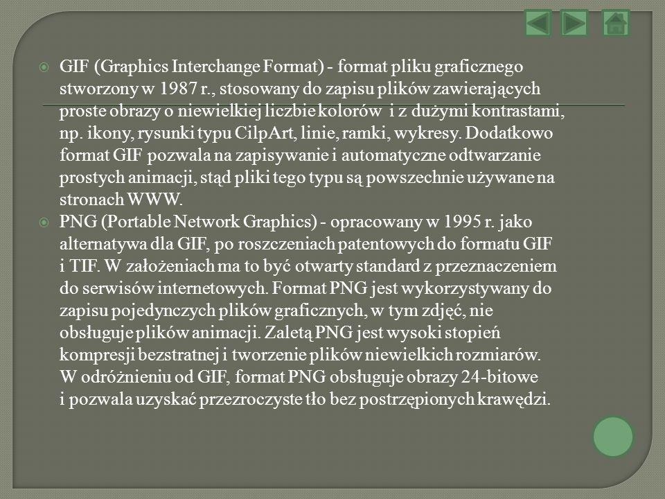 GIF (Graphics Interchange Format) - format pliku graficznego stworzony w 1987 r., stosowany do zapisu plików zawierających proste obrazy o niewielkiej liczbie kolorów i z dużymi kontrastami, np. ikony, rysunki typu CilpArt, linie, ramki, wykresy. Dodatkowo format GIF pozwala na zapisywanie i automatyczne odtwarzanie prostych animacji, stąd pliki tego typu są powszechnie używane na stronach WWW.