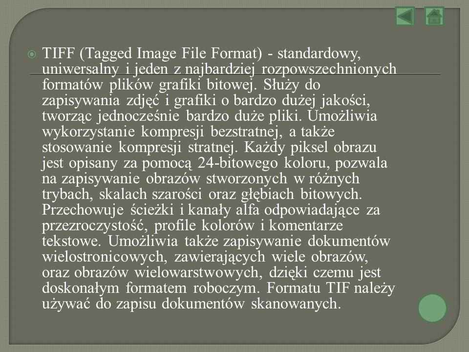 TIFF (Tagged Image File Format) - standardowy, uniwersalny i jeden z najbardziej rozpowszechnionych formatów plików grafiki bitowej.
