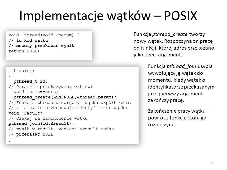 Implementacje wątków – POSIX