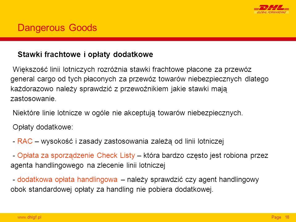 Dangerous Goods Stawki frachtowe i opłaty dodatkowe