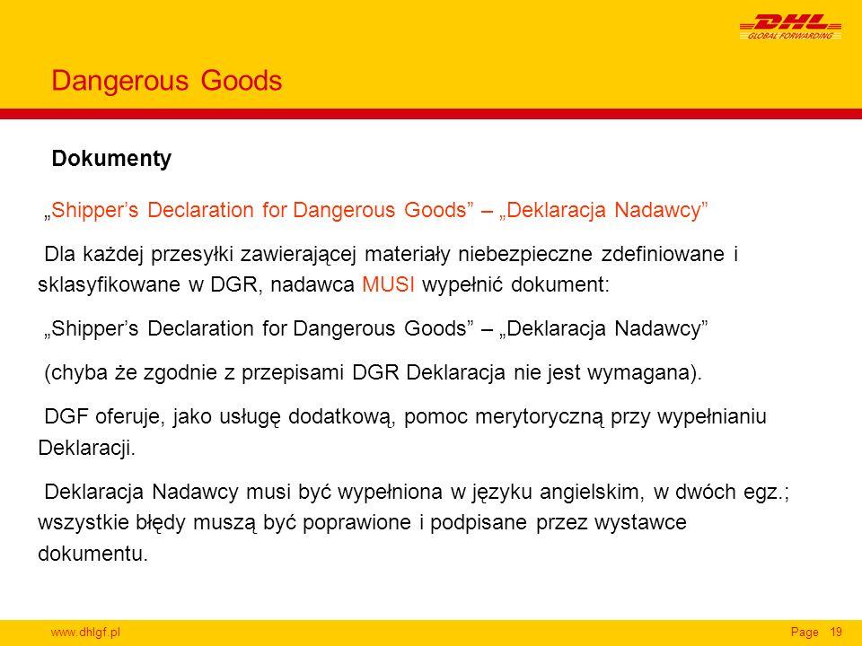Dangerous Goods Dokumenty