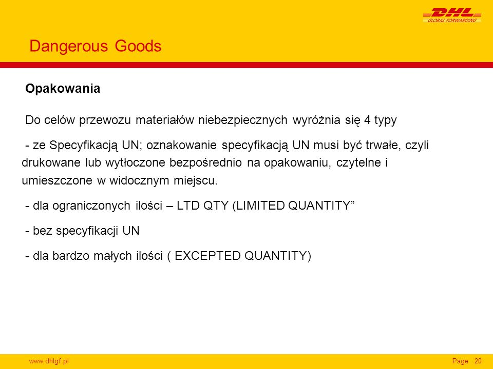 Dangerous Goods Opakowania