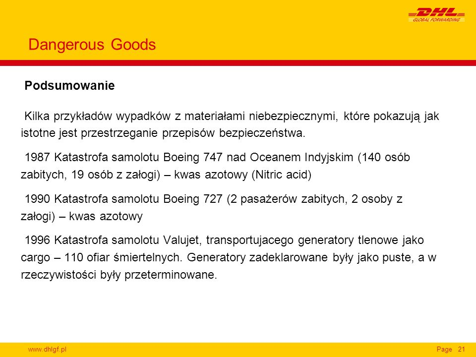 Dangerous Goods Podsumowanie