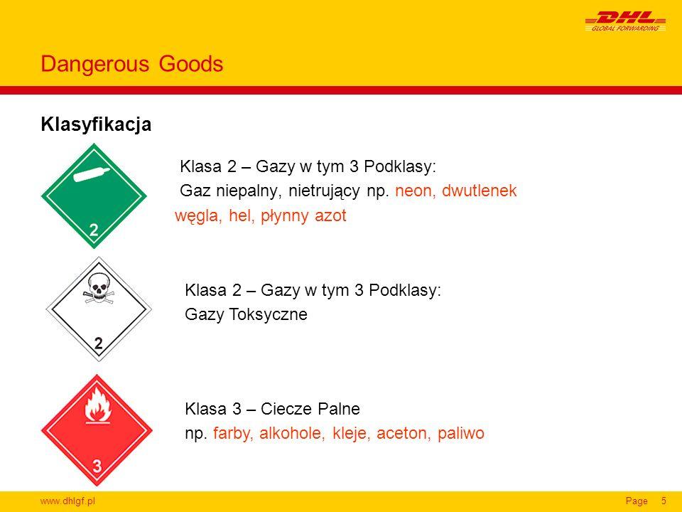 Dangerous Goods Klasyfikacja Klasa 2 – Gazy w tym 3 Podklasy: