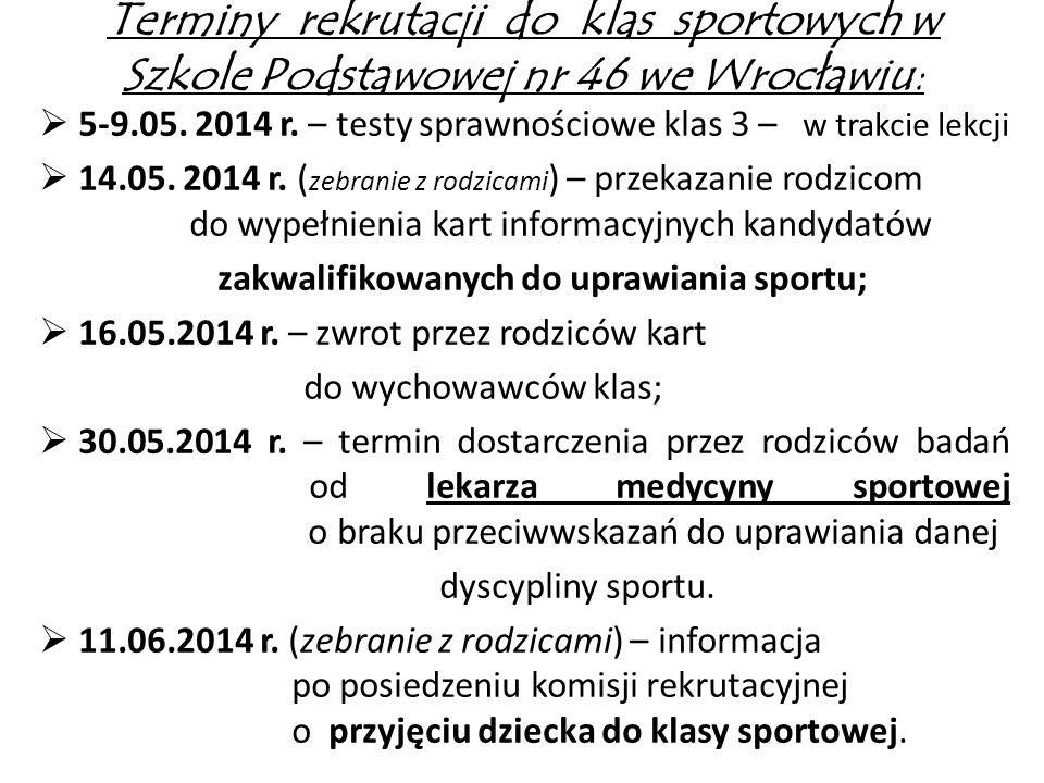 Terminy rekrutacji do klas sportowych w Szkole Podstawowej nr 46 we Wrocławiu: