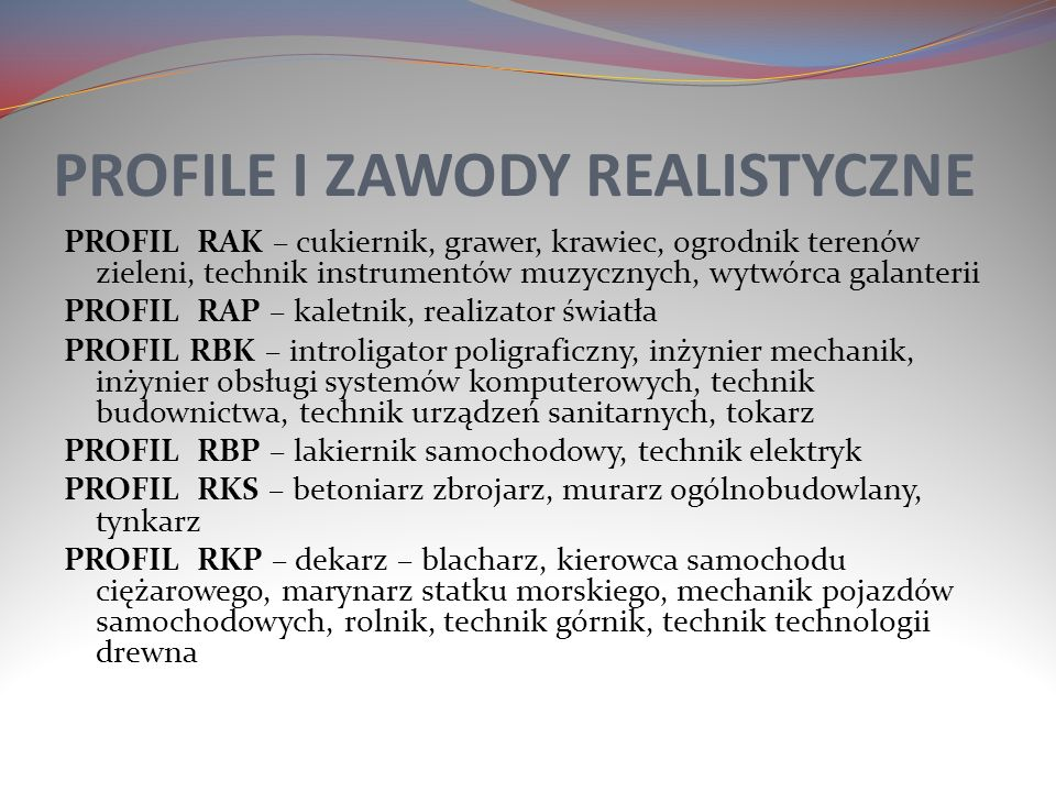 PROFILE I ZAWODY REALISTYCZNE