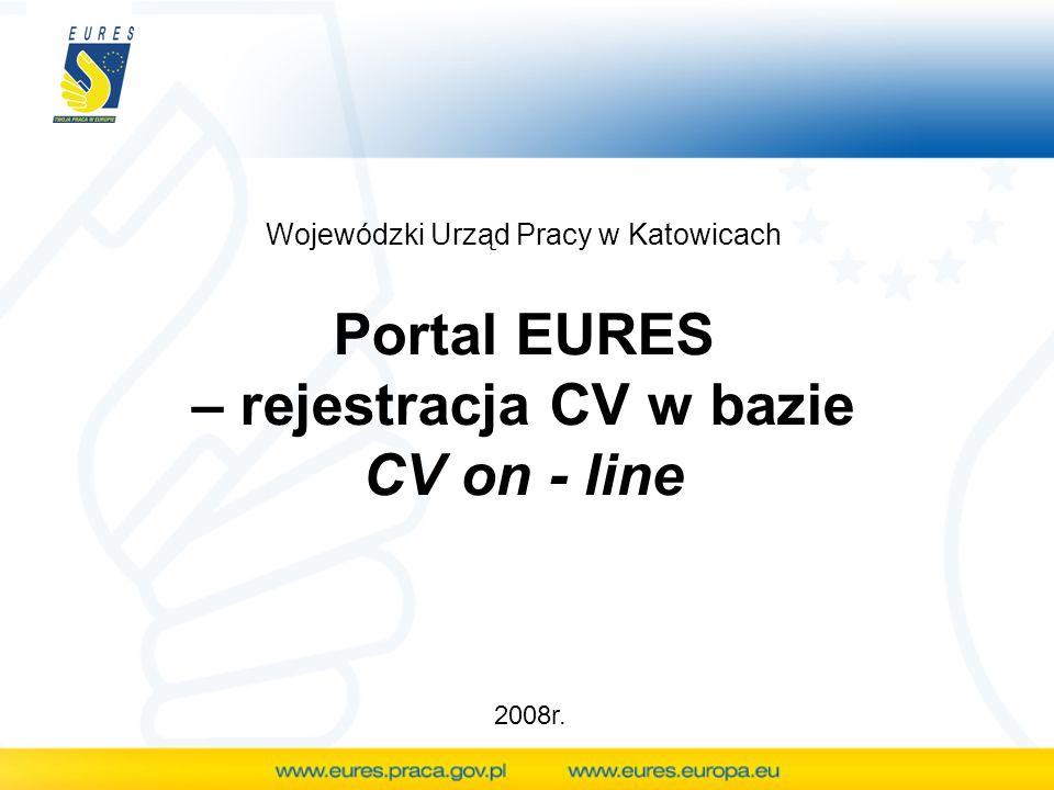 Portal EURES – rejestracja CV w bazie CV on - line