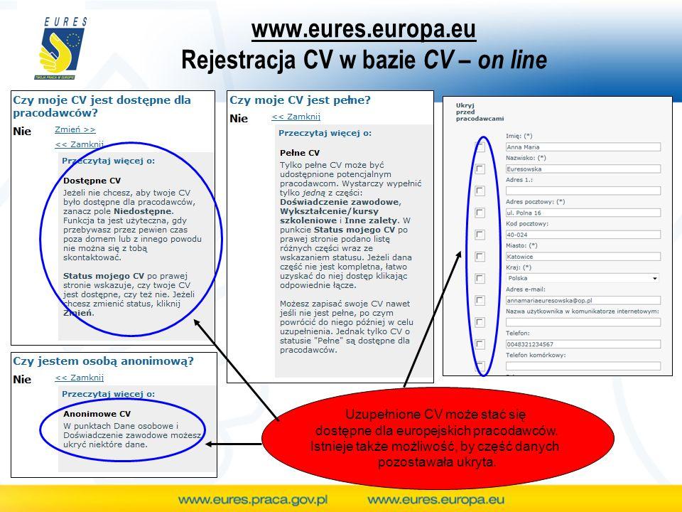 www.eures.europa.eu Rejestracja CV w bazie CV – on line