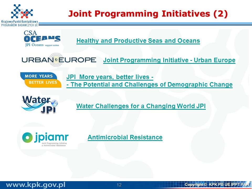 Joint Programming Initiatives (2)