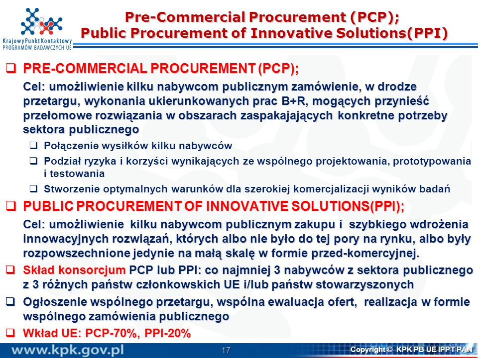 PRE-COMMERCIAL PROCUREMENT (PCP);