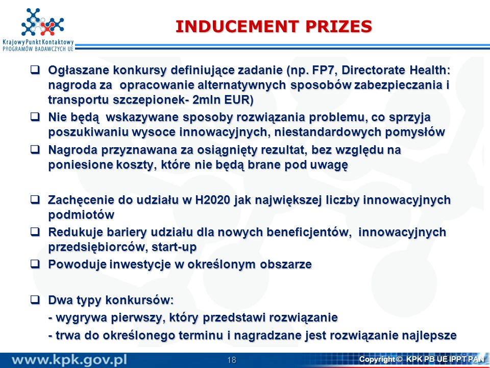INDUCEMENT PRIZES