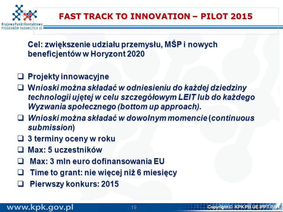 FAST TRACK TO INNOVATION – PILOT 2015
