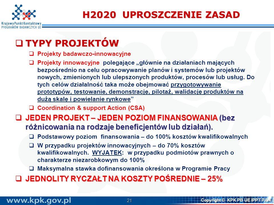 H2020 UPROSZCZENIE ZASAD TYPY PROJEKTÓW
