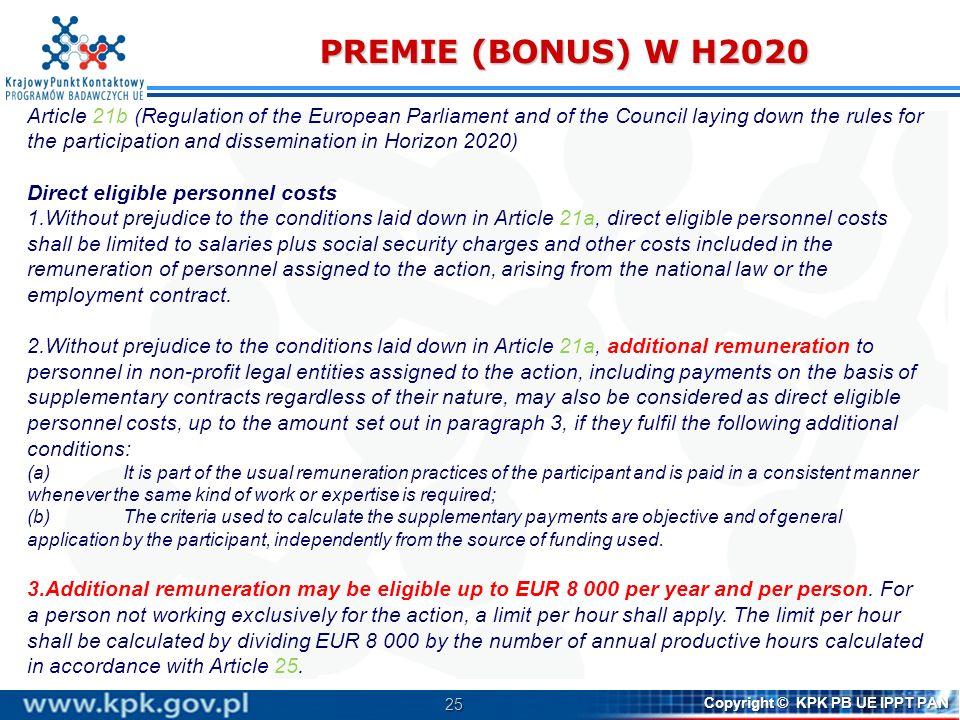 PREMIE (BONUS) W H2020