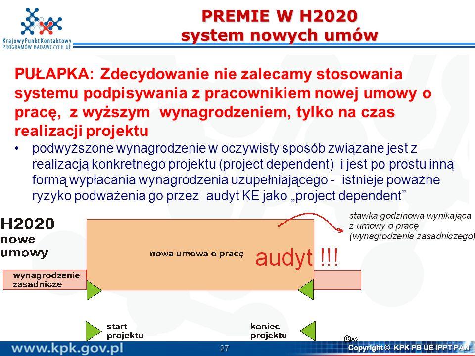 PREMIE W H2020 system nowych umów