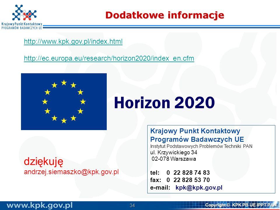 Horizon 2020 dziękuję Dodatkowe informacje