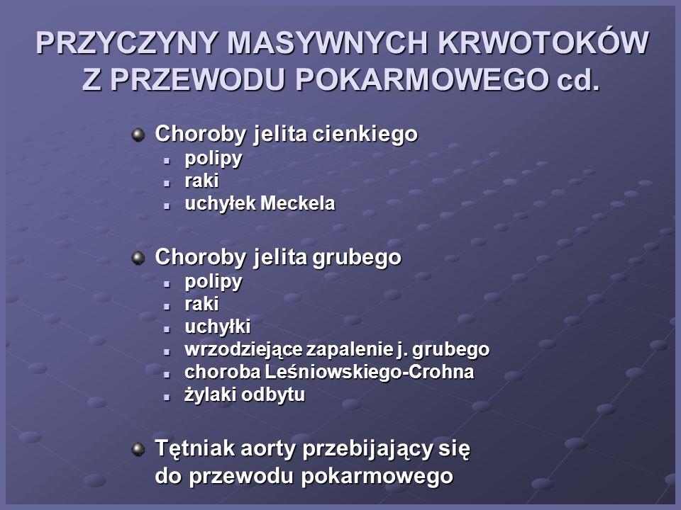 PRZYCZYNY MASYWNYCH KRWOTOKÓW Z PRZEWODU POKARMOWEGO cd.