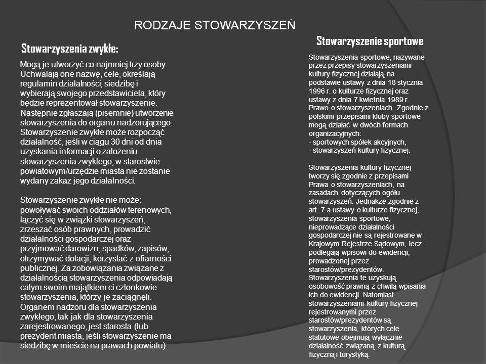 Stowarzyszenie sportowe Stowarzyszenia zwykłe: