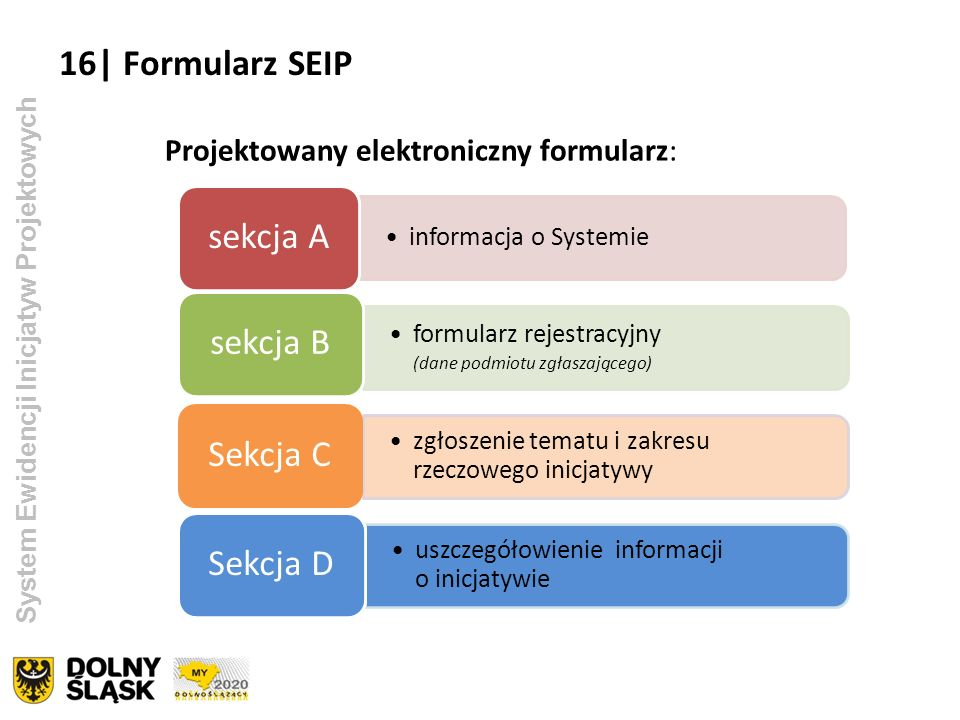 16| Formularz SEIP sekcja A sekcja B Sekcja C Sekcja D