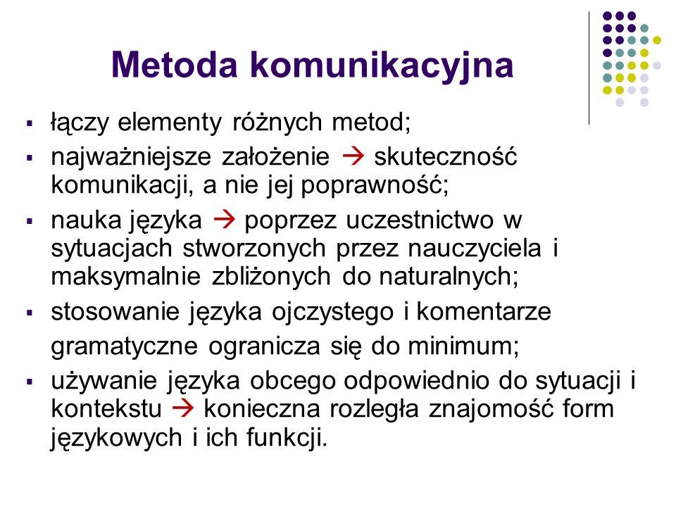 Metoda komunikacyjna łączy elementy różnych metod;