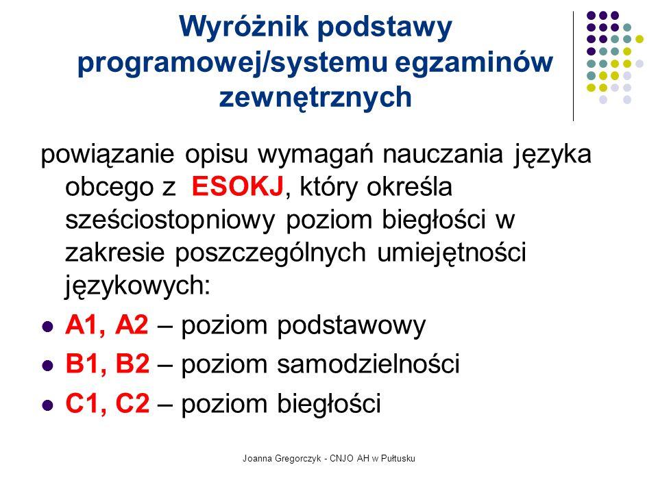 Wyróżnik podstawy programowej/systemu egzaminów zewnętrznych