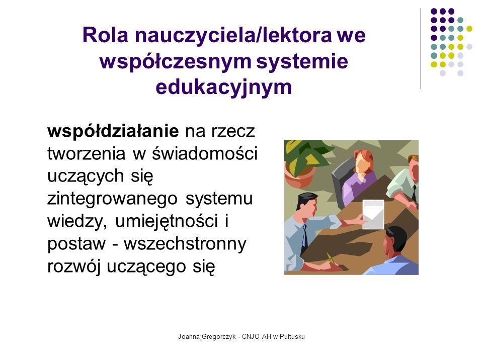 Rola nauczyciela/lektora we współczesnym systemie edukacyjnym