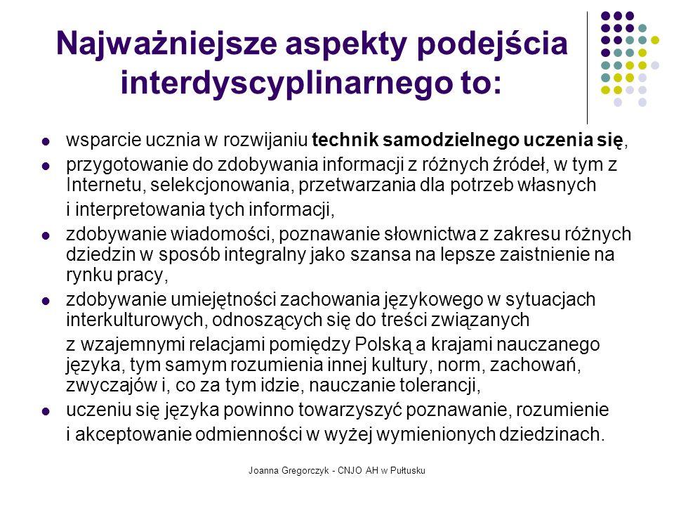 Najważniejsze aspekty podejścia interdyscyplinarnego to: