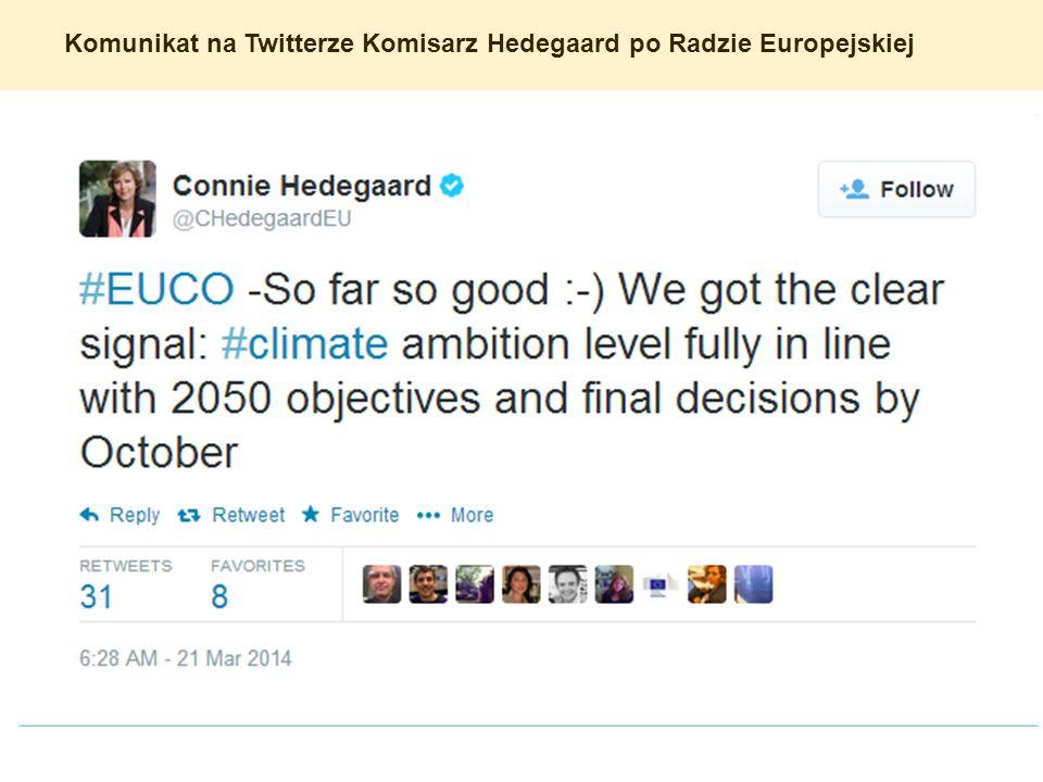 Komunikat na Twitterze Komisarz Hedegaard po Radzie Europejskiej